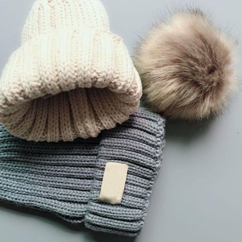 Fashion Children Knitted Cap Winter Warm Hats Big Ball Wool Cap Cute Baby Imitation Raccoon Hair Ball Hat 6 Colors For 2-12 Years Old