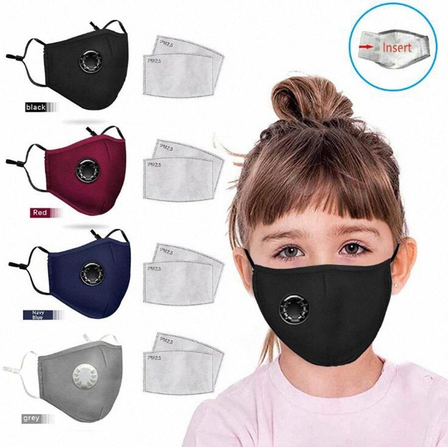 Los niños de la válvula mascarilla respiratoria 4 colores PM2.5 Activado Máscaras de carbono lavable niños boca cubierta a prueba de polvo reutilizables OOA8071 le23 #