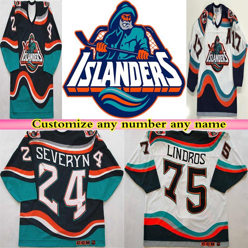 1995 Retro New York Islanders Pescatore CCM Jersey Hockey Wendel Clark Brett Lindros Zdeno Chara Bertuzzi navy blu bianco alternato cucito