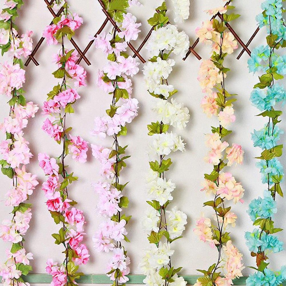 220cm 18 fleurs simulation rotin fleur de cerisier couronne de fleurs Feuille de chaise Fête de mariage, articles de décoration de porte arc 6QGS #