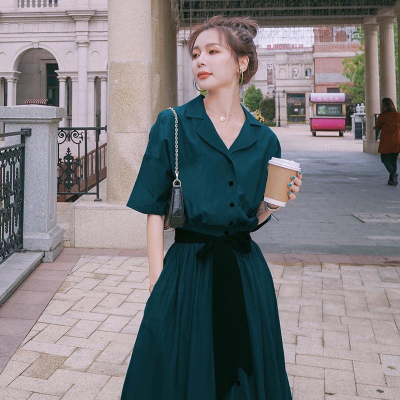 Camisa rJaSu 3UiV2 de las mujeres del vestido de la gasa de 2020 nuevo estilo de la cintura temperamento camisa de vestido de verano grandiflorum de Platycodon francesa Hepburn adelgazamiento
