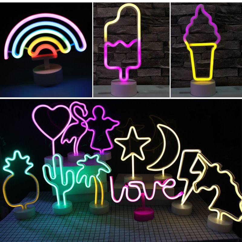USB Kablosu Enerjili LED Neon Işık Flamingo Hindistan cevizi ağacı Cactus Unicorn LED Neon Sign Lambası Home For Yatak Odası Dekorasyon Aydınlatma