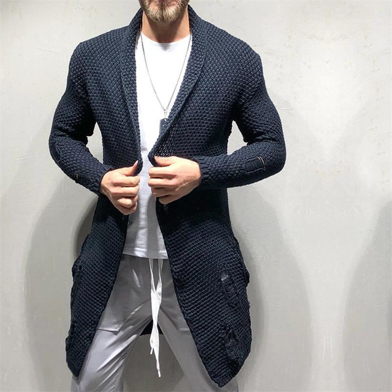 Günlük Uzun Kollu Erkek Giyim Delik Erkek Tasarımcı Kazaklar Moda Gevşek Kasetli Erkek Casual Hırka Süveterler'i Cepler