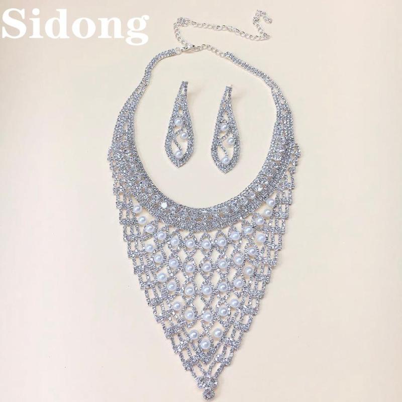Avrupa ve Amerikan moda trendi kolye inci kristal necklink gelin düğün hediyesi kolye kadını abartılı