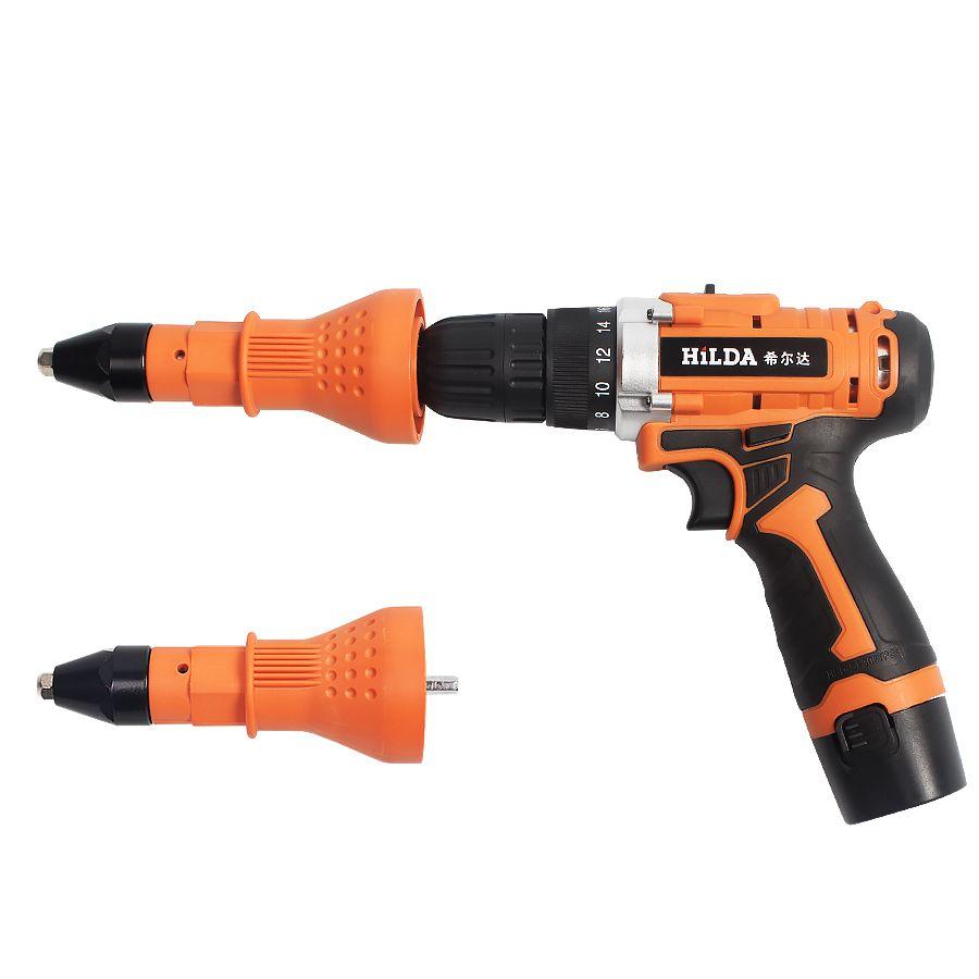 7pcs / Set elétrica rebitador rebitagem porca ferramenta sem fio Rebitando Perfurar adaptador Inserir ferramenta para porca com WrenchNuts 2.4- 4.8 mm