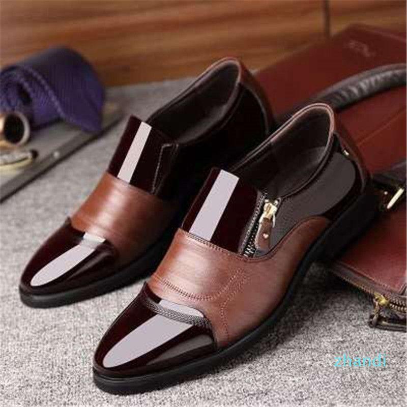 Heißer Verkauf-Herren Business Schuhe Klassische Mode-Kleid-Schuhe Formale pionted Toe Büro Oxford Zip PU-Leder-große Größe 38-48 Male Fußbekleidungen