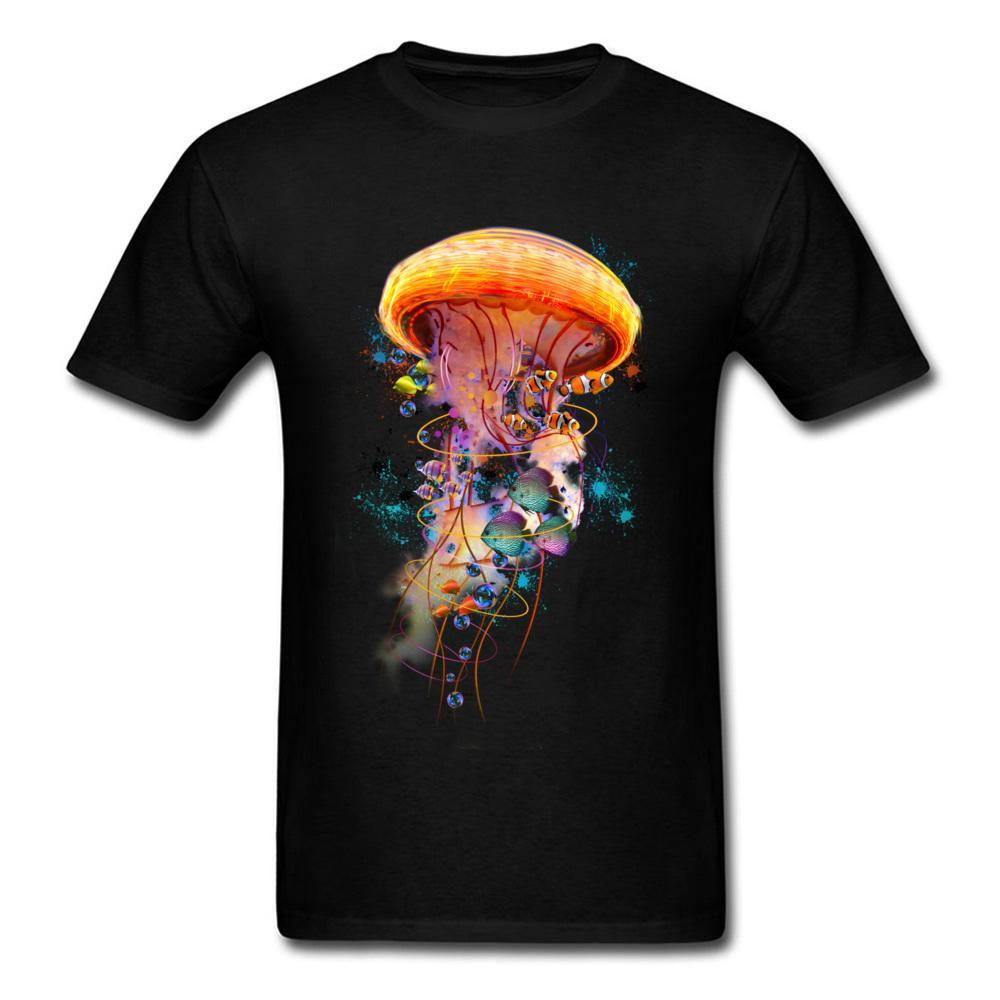 Elétrica Jellyfish mundo camisetas Simples Estilo 2020 New Fashion O pescoço 100% algodão cobre camisas T Outono / Verão T para homens