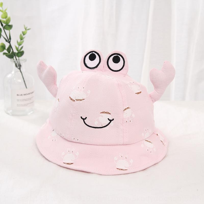 2020 spring and summer new children's infant basin baby Korean bucket bucket hat style crab sunshade pullover fisherman hat PfC7c