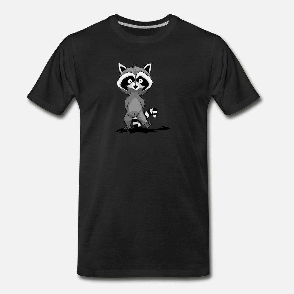 Raccoon Boyun Kawaii Ünlü Komik yaz Desen gömlek yuvarlak Kişisel Gömlek t gömlek erkekler Örme pamuk üzerinde Casual Serin Walking