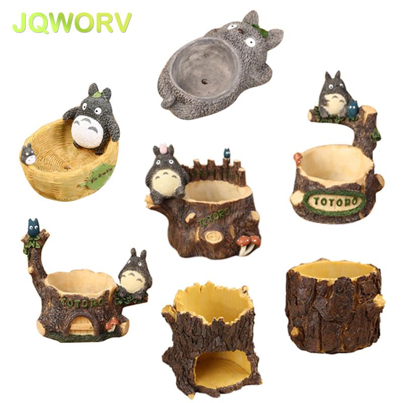 7-Style Cartoon Cute totoro flower pot farmhouse decor Resin Creative Crafts planters Home office garden succulent plant pot Y200723