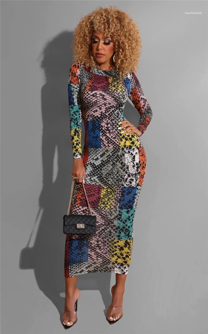 Kol Mürettebat Boyun Bayan Elbise Sping Kadın Cllothing Kadın dizayn edilmiş elbiseler Renkli Yılan Desenli Baskılı Moda Loing