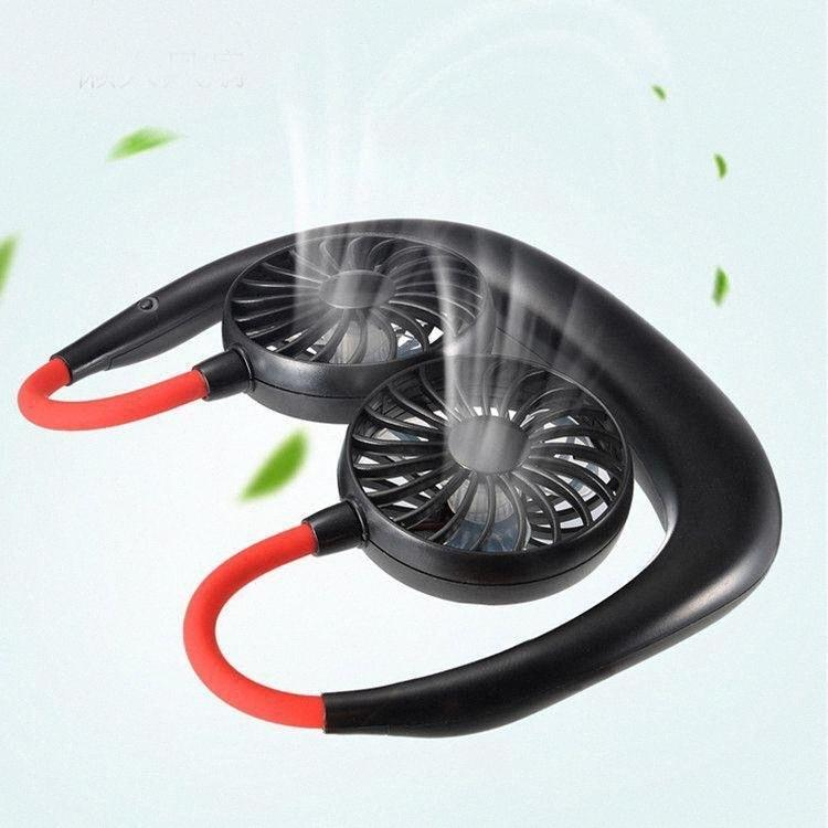 Wearable banda para el cuello del ventilador 3 de flujo de aire Nivel recargable colgante portable USB del cuello del ventilador de deportes Manos Libre suspensión favor cuello Fan Party CCA12 OW4W #
