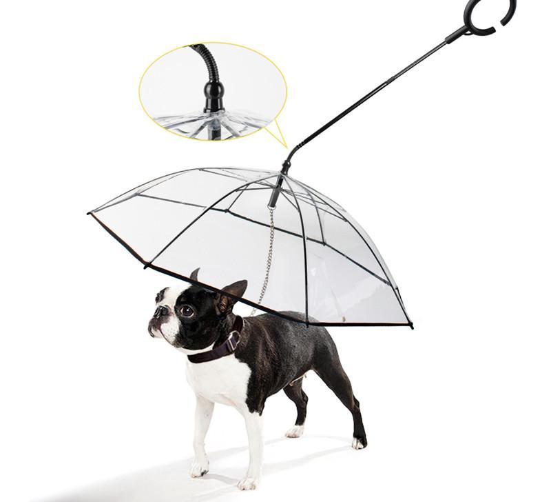 شفاف الحيوانات الأليفة مظلة الكلب c على شكل مظلة مستلزمات الحيوانات الأليفة مصنع المبيعات المباشرة قابل للتعديل الكلب المطر المشي المقود