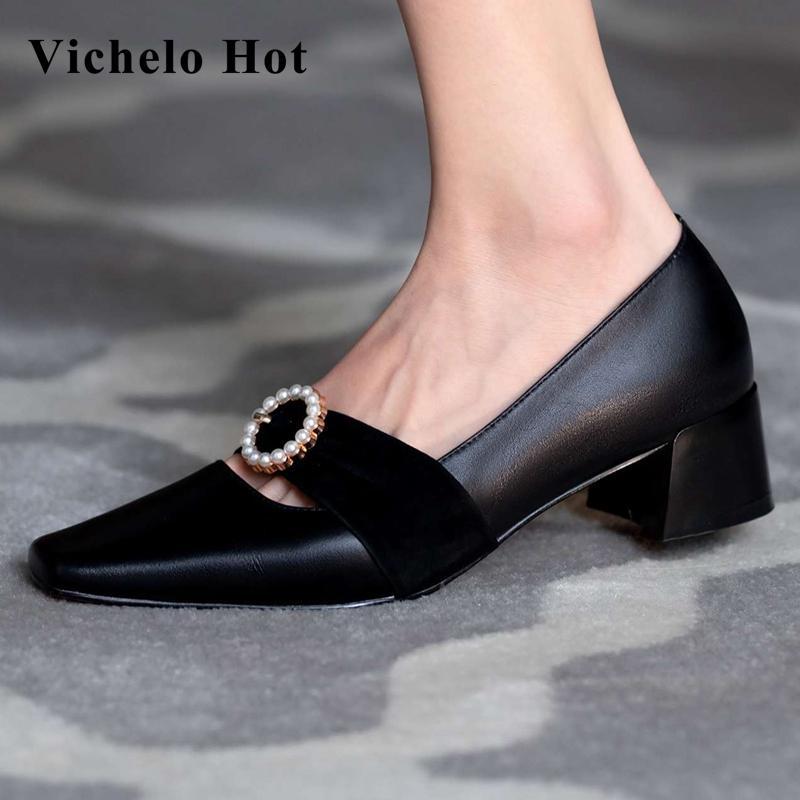 Vichelo Sıcak 2020 yeni moda doğal deri kare ayak med topuk inci metal dekorasyon zarif bayan streetwear kadınlar L21 pompalar