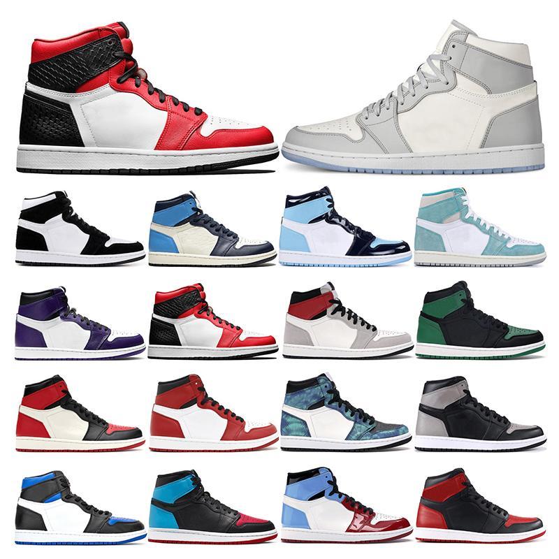 air retro jordan 1  أحذية 2020 وصول جديد jumpman بروتو للرجال رياضة الأحمر النيون التدرج النقي البلاتين الأرجواني ورويال الذهب وأحذية رياضية أسود حجم 40-46