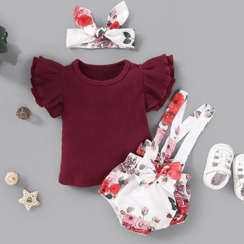 aby ropa del verano del bebé recién nacido niñas tapas de la camisa de la colmena de la liga del vestido del tutú de pantalones cortos de la venda 3pcs Trajes sunsuit