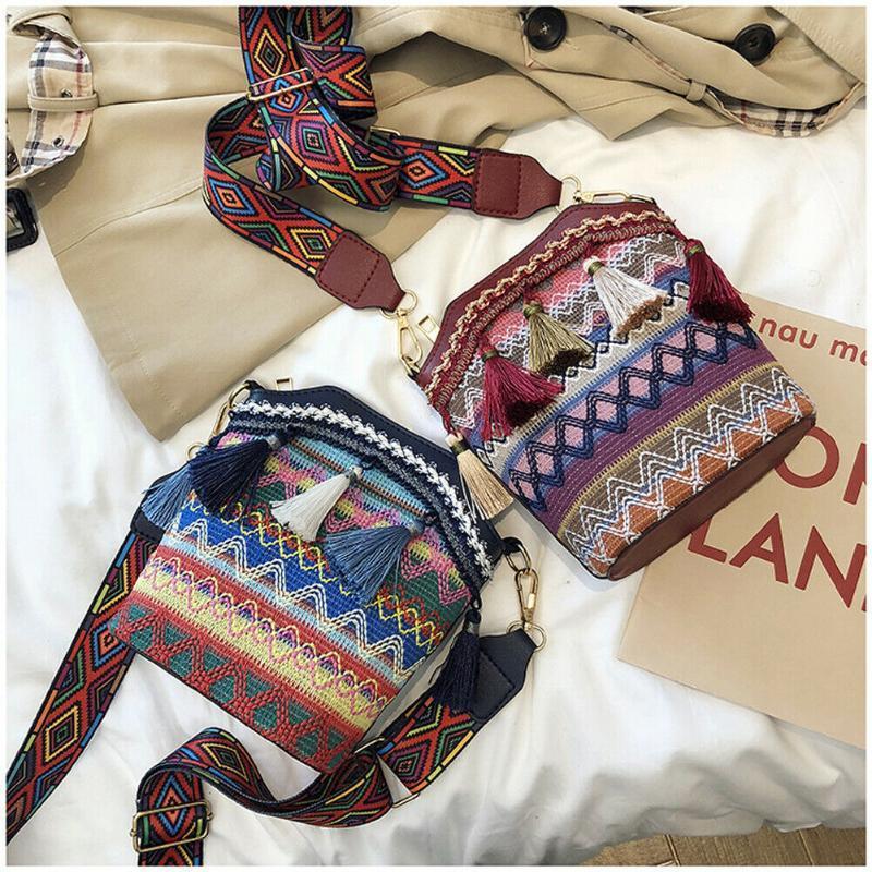 2020 Mode New Vintage Femmes Lady Straw Sac besace Handwoven bandoulière Messenger Beach Voyage Sac à bandoulière