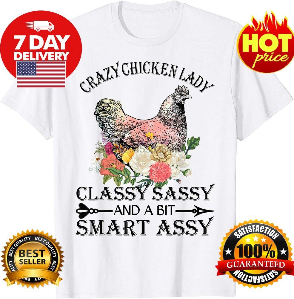 Crazy Chicken Lady pollo shirt amanti regalo per Farmer epoca uomini regalo Tee