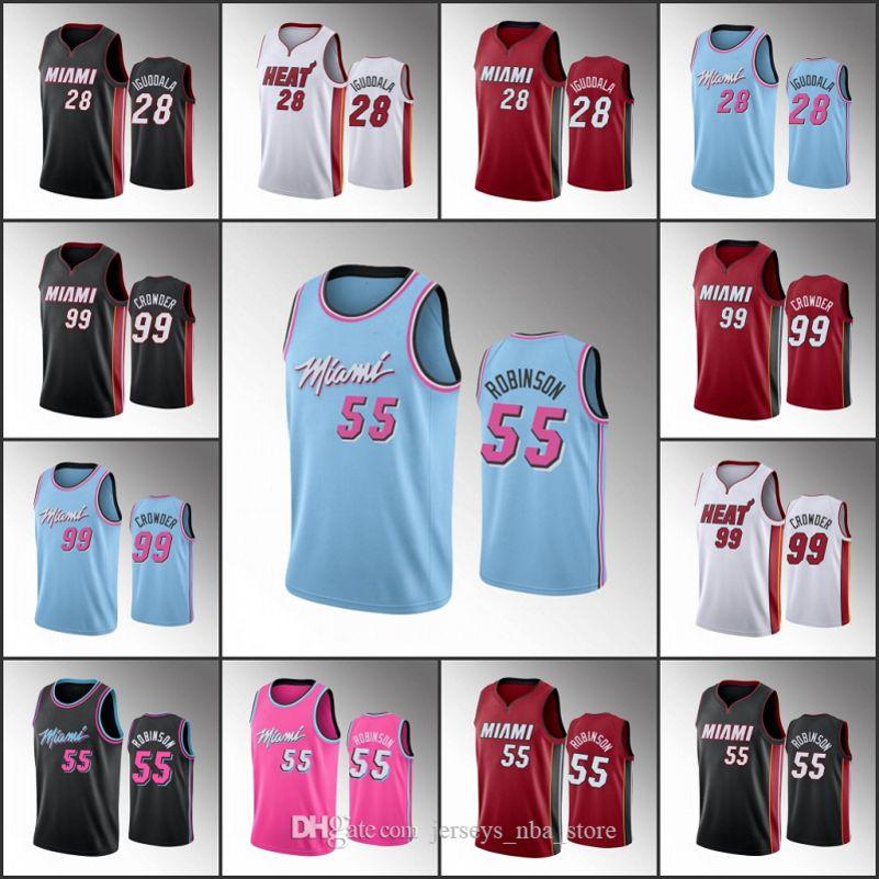 MiamiCalorHombres Jae Crowder Andre Iguodala Duncan RobinsonNBA 2019-20 camiseta de baloncesto 07
