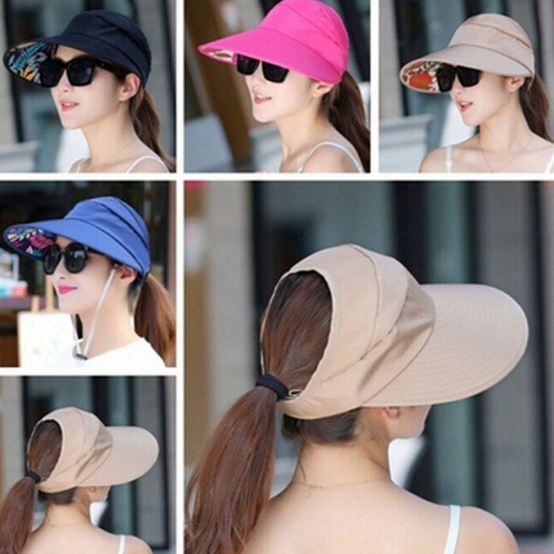 Женщины Summer Sun Hat дамы девушки Складные защиты ВС Cap отдыха Защита от ультрафиолетовых лучей Hat Широкий Брим Бич Packable Visor