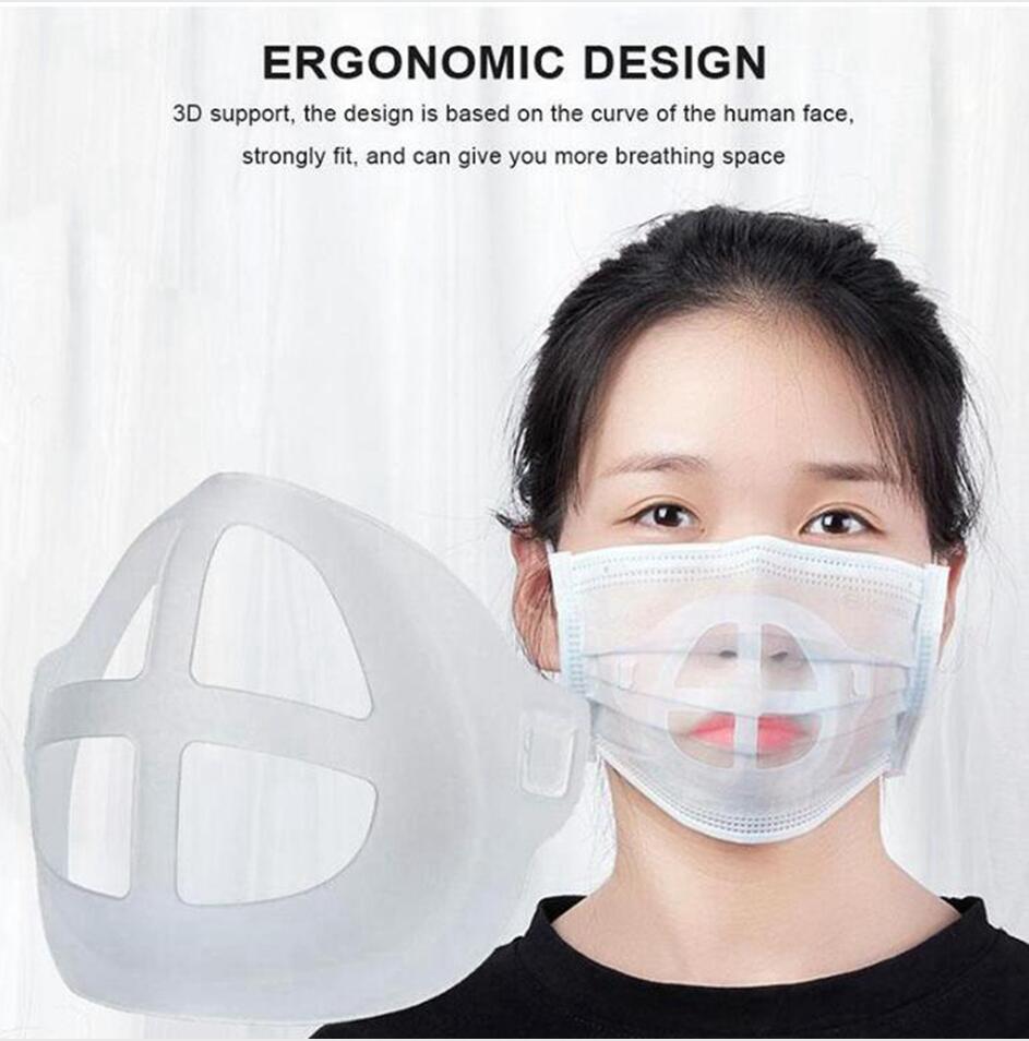 6 Estilos de silicona 3D Máscara Soporte de protección labial soporte máscara interior apoyo al aumento de la respiración suavemente Máscaras herramienta accesoria LJJP319