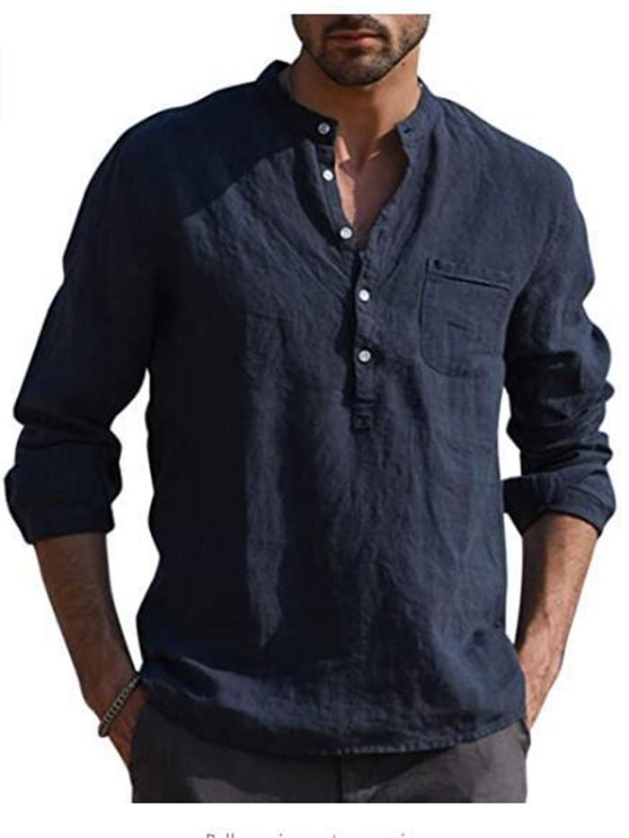 Camisa para hombre de lino retro Manga larga del equipo del cuello del botón Pullover camisa masculina floja placa radiante