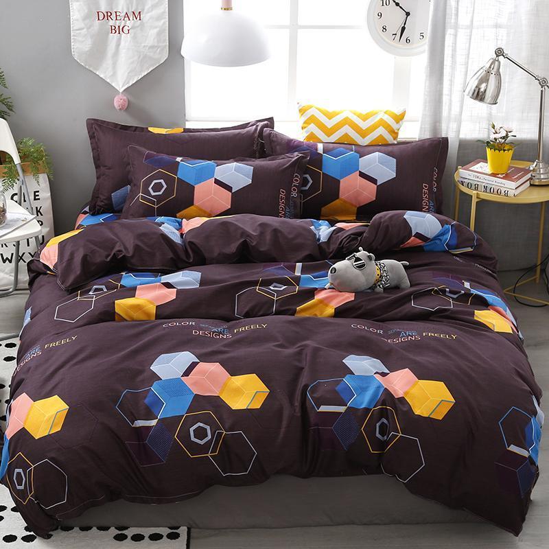 Yeni Aile 3D Kare Ev Nevresim Seti İkiz Tam Kraliçe Kral Boyutu düz çarşaf Yatak Seti Yumuşak Rahat bedclothes