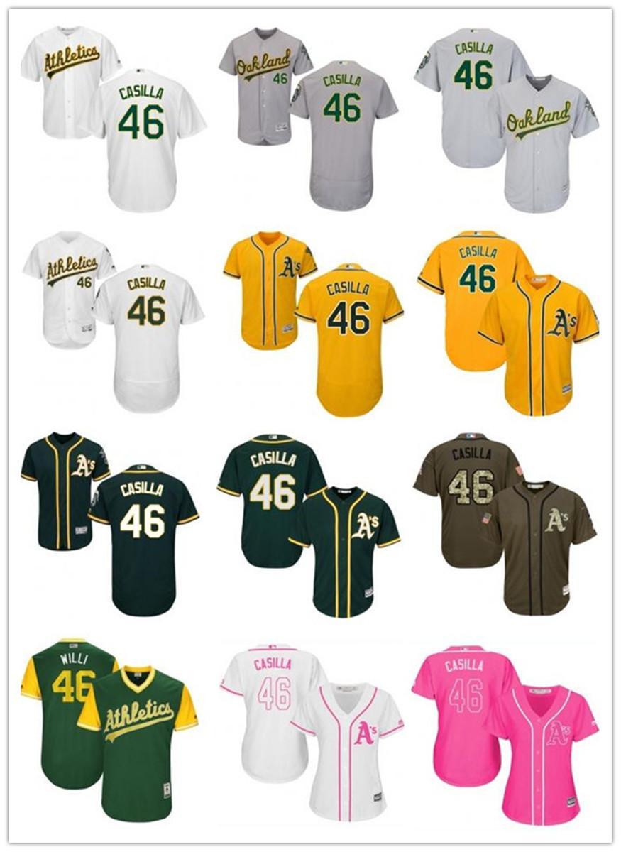 benutzerdefinierte Oakland 46 Santiago Casilla OaklandAthletic athletische Frauen Männer Baseball Jugend hochwertige Jersey freies Schiff