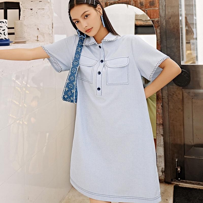 Estate di stile akRYV fEqbk Doll vuoto-fuori di pizzo bambola collare cuciture piccolo temperamento stile accademico Loose Women Vestito di Corea
