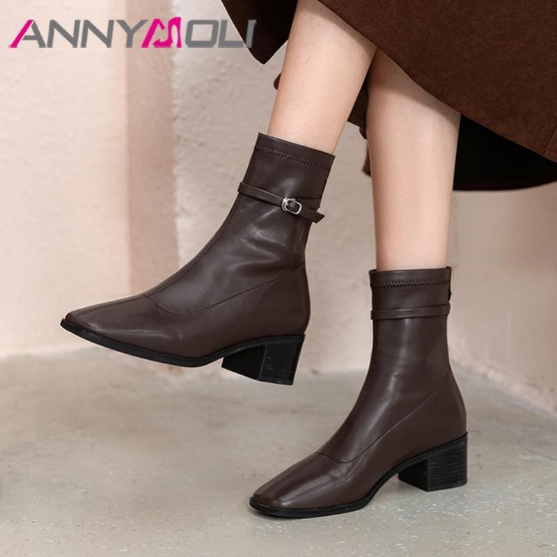 ANNYMOLI quadratische Zehe Ankle Boots-Frau lädt Zipper High Heel Short Schnalle Chunky Heel Damen Schuhe Herbst Schwarz Braun 39