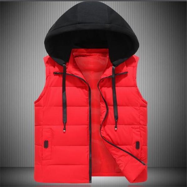 L'autunno e gilet giacca senza maniche con cappuccio caldo conferisce al rivestimento dei nuovi uomini di inverno