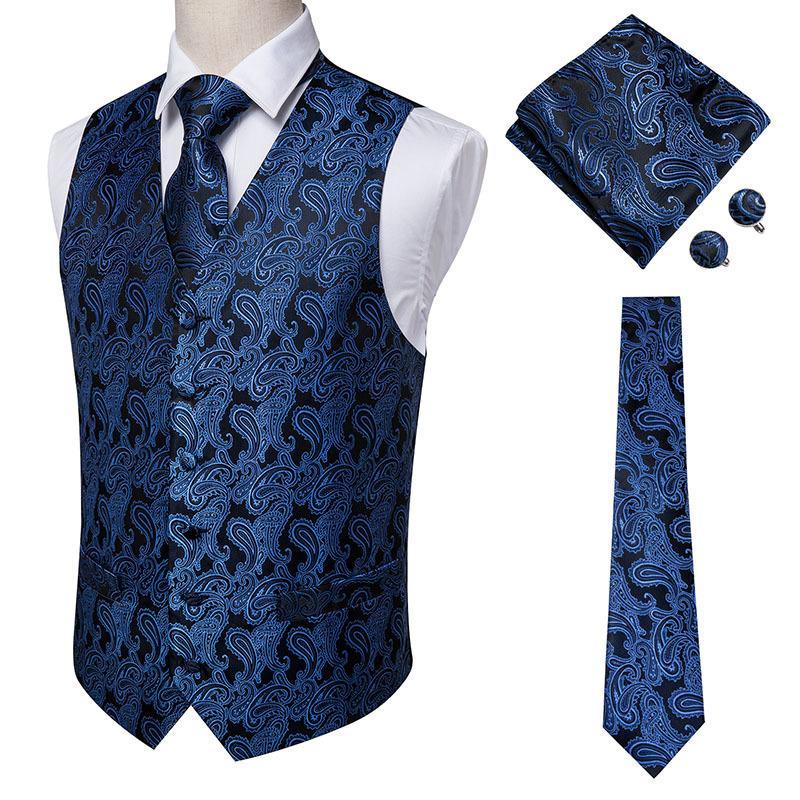 Düğün Biçimsel Jacket 200924 için Hi-Tie Donanma Paisley% 100 İpek Elbise Yelek Seti İçin Erkek Lacivert Jakarlı Erkek Takım Elbise Yelek Erkek Yelek