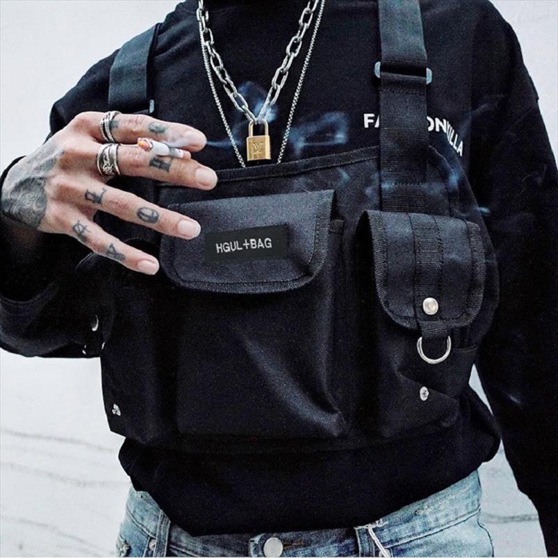 Kanye West Chest Rig Bag For Men Hip Hop Streetwear Peito Bag Funcional Hgul Sling Bag Militar tático Soulder Bolsa de Cintura