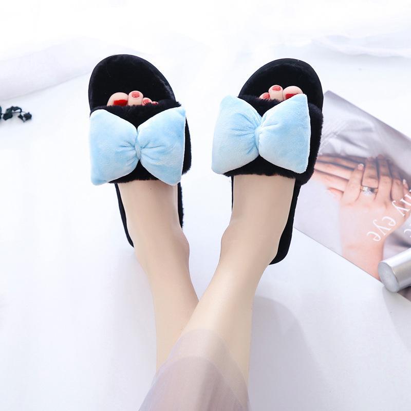 Azul nudo de la mariposa de piel Zapatillas Mujeres peludo piel cubierta Diapositivas Inicio Zapatillas Kawaii Girls casa caliente mujer de los zapatos de invierno