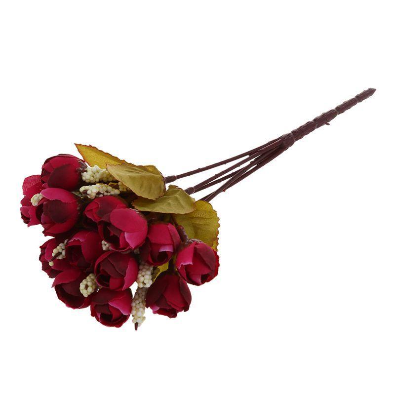 Seidentuch künstliche Blume 15 Köpfe Mini Rose Hauptdekor für die Hochzeit kleine Rosen Blumenstrauß Dekoration (Herbst weinrot)