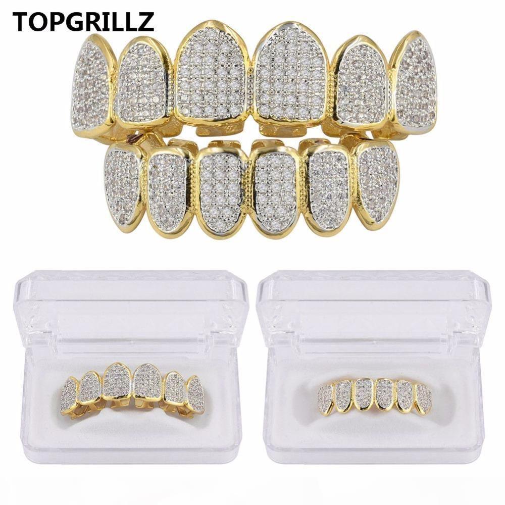 TOPGRILLZ goldene Farbe überzogen CZ Micro Pave Exclusive Luxury TopBottom Gold-Grillz Set Hip Hop Klassik Teeth Grills
