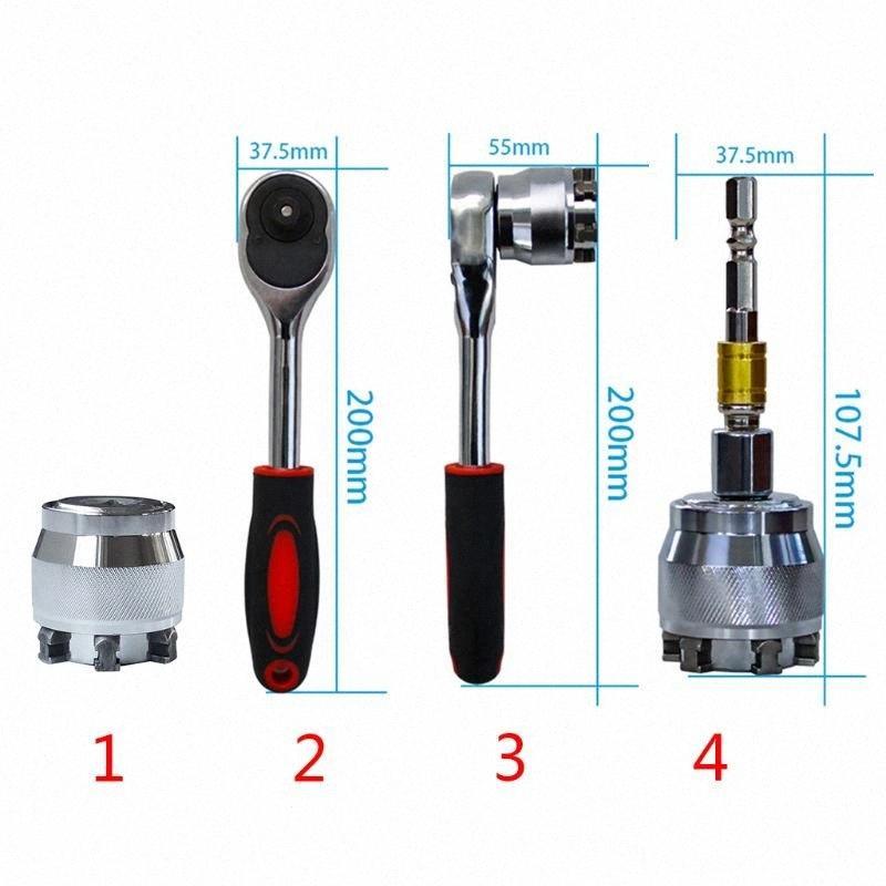 1PC 3/8 Zoll-Laufwerk 10-19 mm Einstellbare Hex Universal-Buchse Drehmomentratsche Socke 649E Q6wZ #