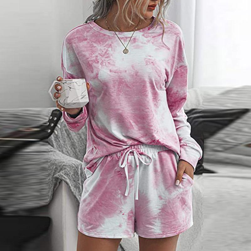 المرأة رياضية 2021 الخريف النساء مجموعات عارضة قطعتين الدعاوى الأساسية طويلة الأكمام قمصان مرونة الخصر السراويل النسائية المطبوعة الدانتيل يصل homewe