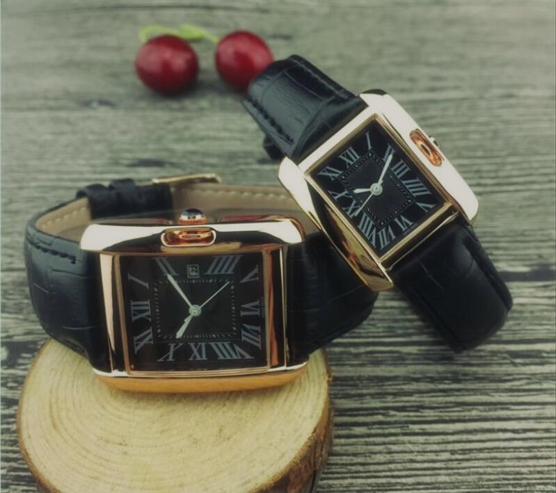 IP покрытие Top Man дизайнер кожа наручные часы женщин любовников платье женщин Часы кварцевых часы стали мужские часы