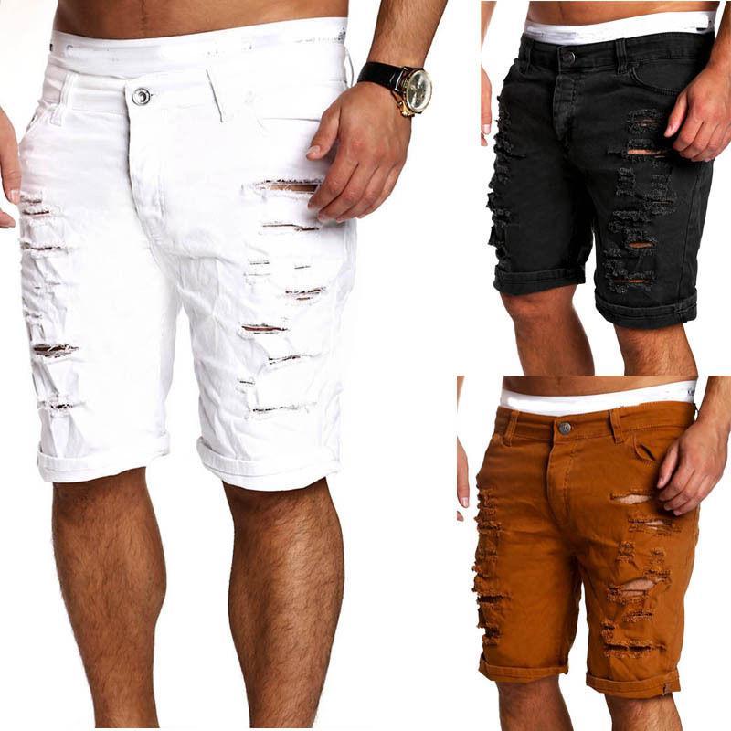 New Cool мужские Узкие Подиум Straight Knee Джинсовые брюки Разрушенный Ripped колен джинсы