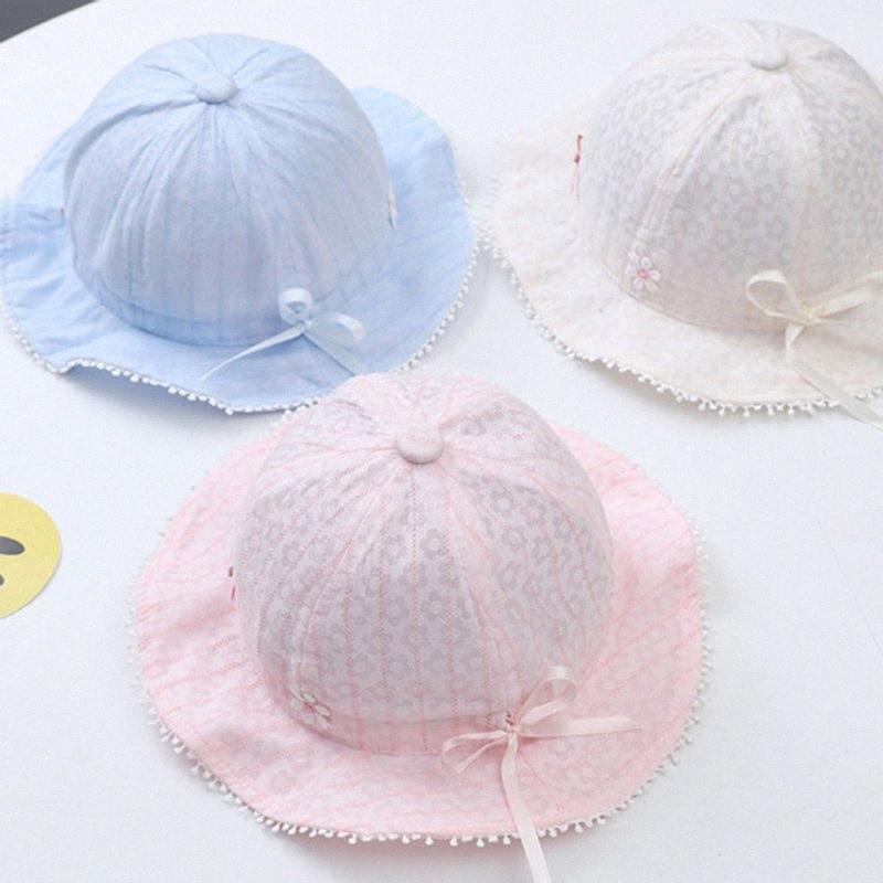 Sommer-nette Blumen-Baby-Hut-justierbare Infant Mädchen-Strand Sonnenhut weiche Bögen Breathable Kinder Kleinkind-Bucket-Kappen-Baby-Zubehör j0oW #