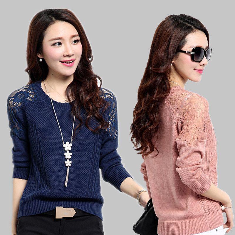 Sweater Moda de mangas compridas Lace costura Casual 2020 New Primavera Outono mulheres oco capuz da camisola Feminino Knitwear