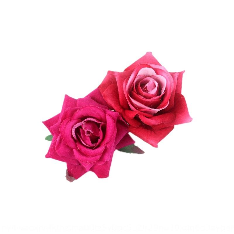 dXBSQ Red headdress edge clip New bridesmaid hair rose simulation double flannel Artificial artificial flower simulation flower plate h nI8PY