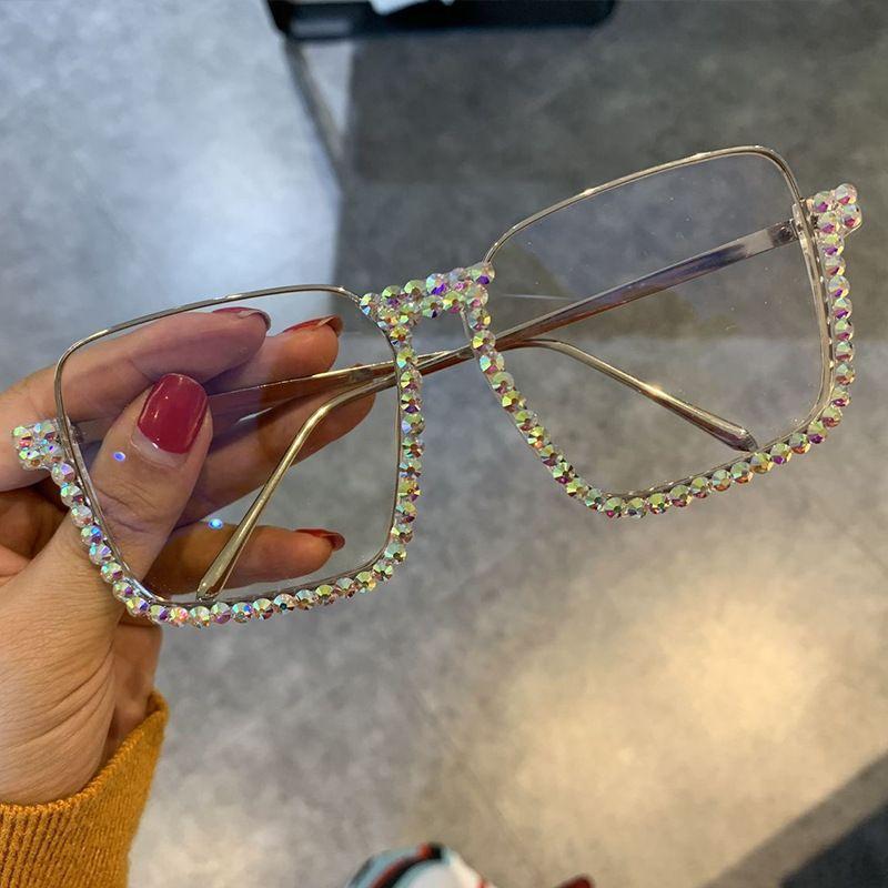 Luxo Rhinestone óculos de armação dos óculos de sol Mulheres Homens de Moda de Nova aro Sun Óculos Mão-Set Rhinestone Óculos UV400 NX