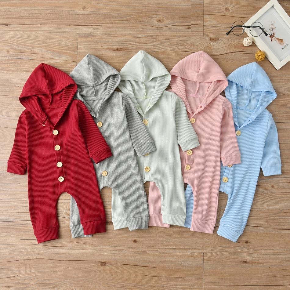 -Nascidos rompers cor sólida Meninos Meninas roupa com capuz Romper Crianças Costume Macacão roupa de escalada