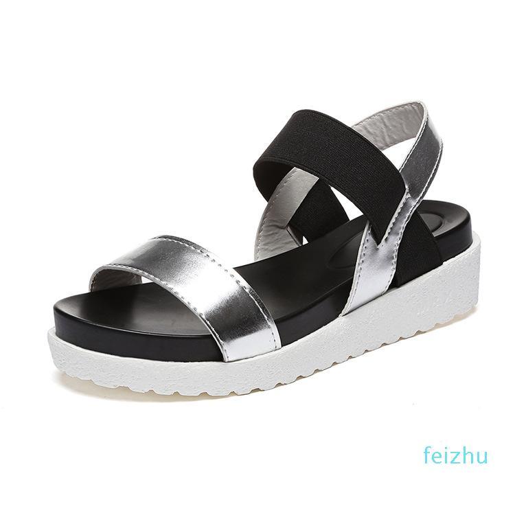 Hot sale-Roma Estilo Moda Branca Mulheres Sandálias do verão Plataforma de pvc Feminino Plano Sandals Shallow Sólidos Mulheres Sandálias Flat