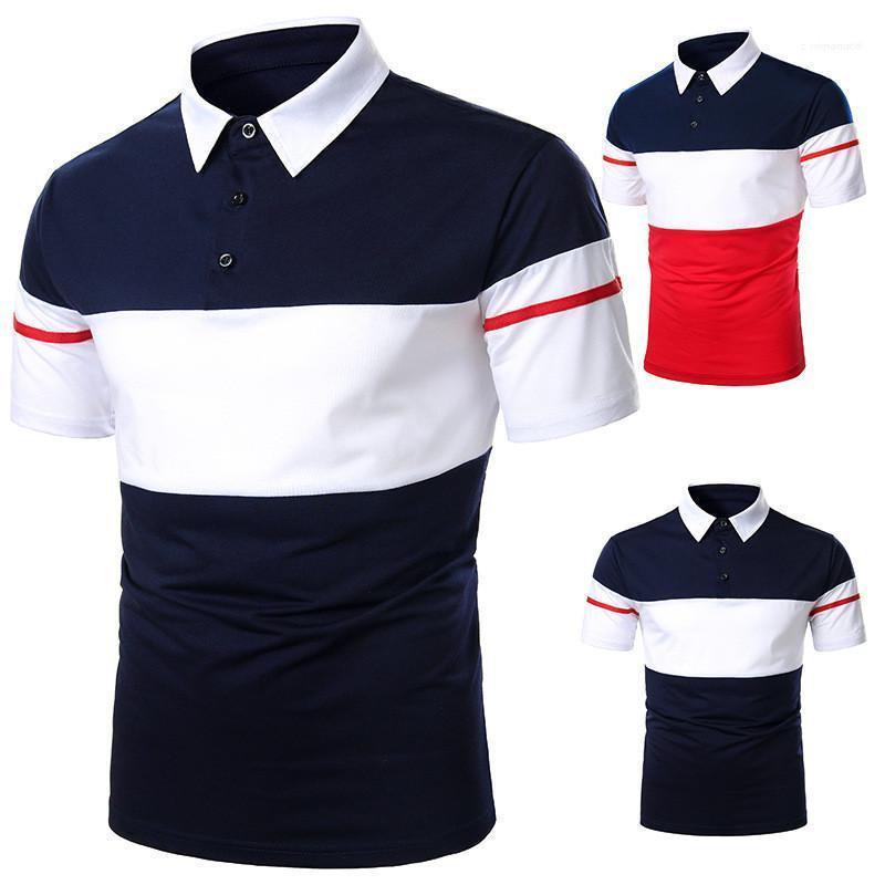 Rayas con paneles para hombre de manga corta casual para hombre camisetas delgado transpirable Moda Hombre Ropa Polo camiseta del diseñador