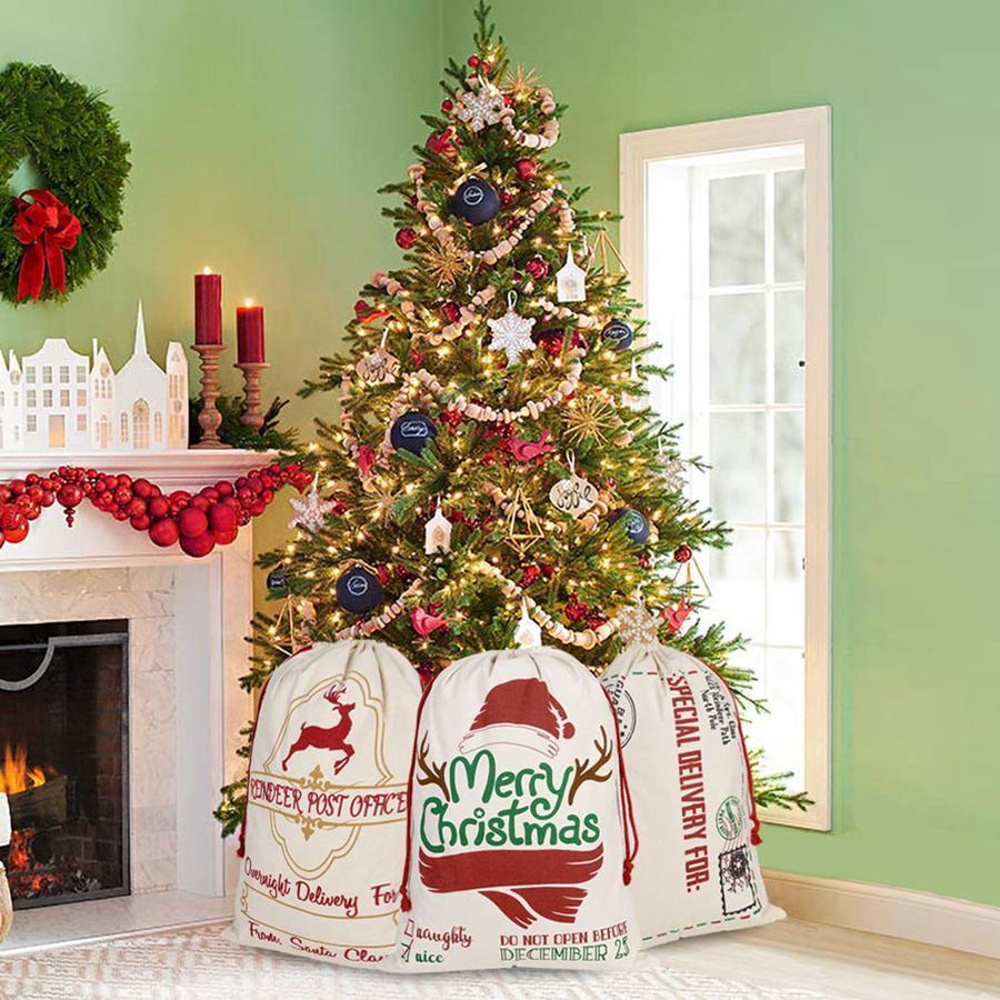 크리스마스 장식 FY4249 들어 DHL 선박 캔버스 크리스마스 산츠 가방 대형 졸라 매는 끈 사탕 가방 산타 클로스 가방 크리스마스 산타 자루 선물 가방