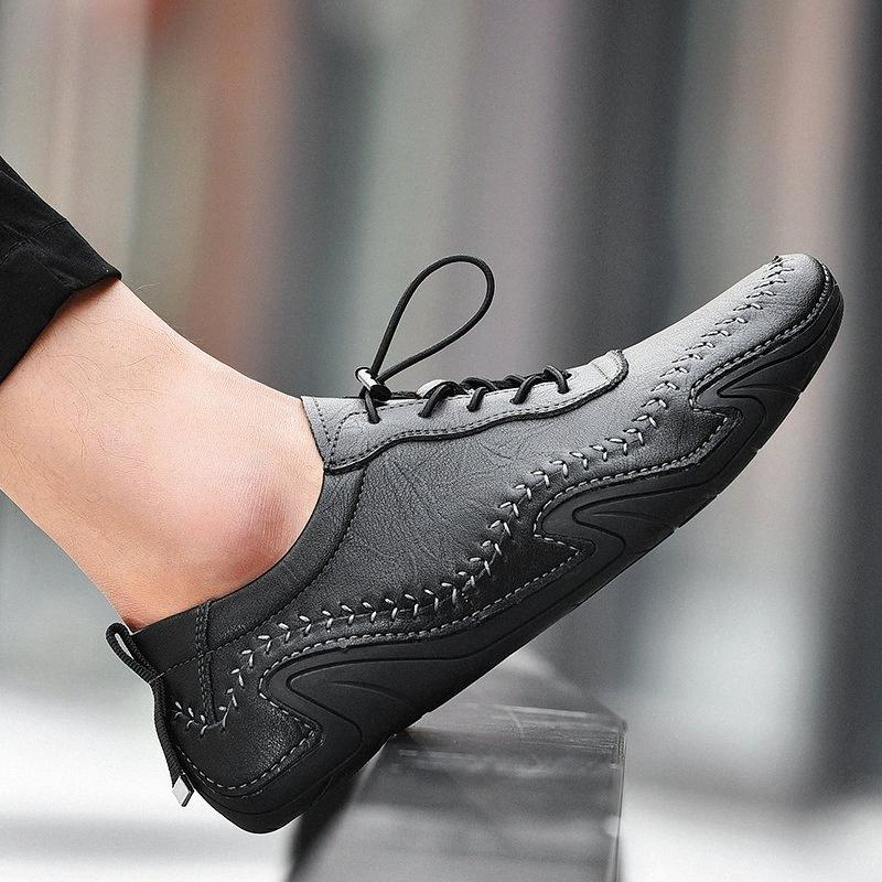 Hommes Cuir Véritable Cuir Casual Chaussures Mocassins Hommes Merrans Nouveau Mode Mâle Chaussures confortables Sude Krasovki Big Taille 38 56 Chaussures jaunes G Yqgn #