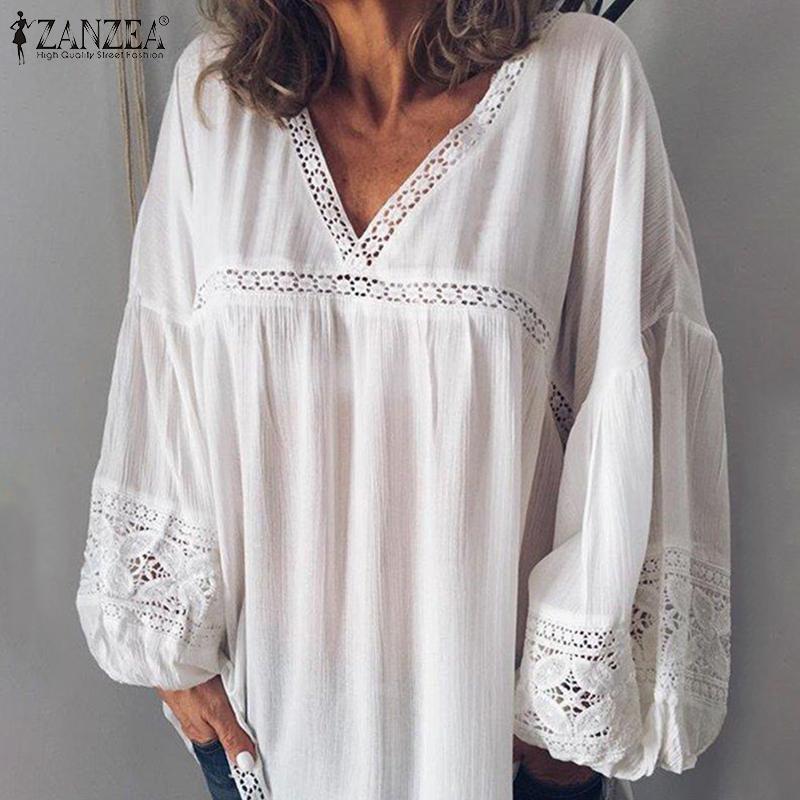 ZANZEA elegante Spitze Patchwork Bluse Frauen Tunika Sexy V-Ausschnitt mit Puffärmeln Blusas Mujer Weiblich Transparent Weiß Shirts plus Größe 200928